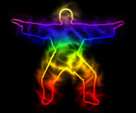 Rainbow master samurai with aura - silhouette. Illustration of rainbow master samurai with aura - silhouette. Theme of spirituality and serenity Stock Images