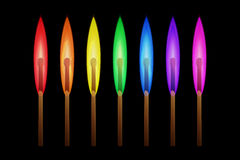 Rainbow Matches. Matches burning in the flames of the rainbow colors on black background. Vector illustration, business individuality concept, different thinking Royalty Free Stock Image
