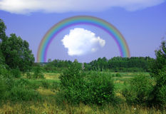 Rainbow on the meadow Royalty Free Stock Photos