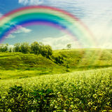 Rainbow on the meadow. Stock Photos