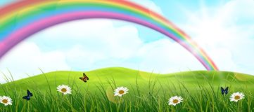 Rainbow and meadow of background Royalty Free Stock Photos