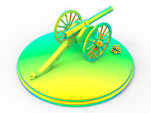 Rainbow medieval cannon. 3D render illustration of a medieval rainbow cannon. The object is  on a white background with no shadows Royalty Free Stock Image
