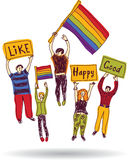 Rainbow meeting group happy people with flags Stock Images