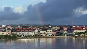 Rainbow,  mekong , cambodia stock video footage