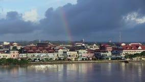 Rainbow,  mekong , cambodia stock video footage