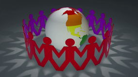 Rainbow men cut outs circling colored globe. Rainbow colors on 3D silhouette male cut outs encircling globe also rainbow colored stock illustration