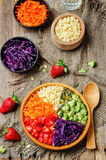 Rainbow millet vegetable salad Stock Photo