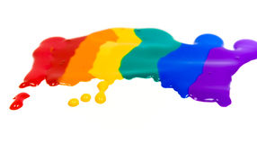 Rainbow from mixed colored blot. Rainbow from colored blot, glass deco paints stock images