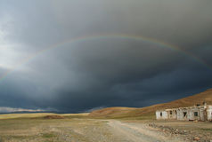 Rainbow in mongolia Stock Images