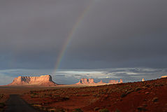 Rainbow on the Monument valley. Monument valley after the storm Stock Image