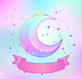 Rainbow moon, pink ribbon and colorful stars  on white. Creepy cute vector illustration. Gothic design, mystic magic symbol, pastel colors. Eid Al-Adha Mubarak Royalty Free Stock Image