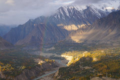Rainbow at the morning ,Hunza Valley,Pakistan Royalty Free Stock Photo