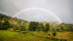 A Rainbow Morning. View of a Rainbow Landscape royalty free stock image