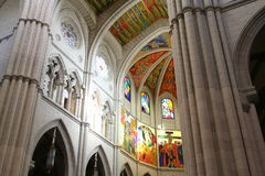 Rainbow on a mosaic. The rainbow shine on a mosain in the cathedral of Madrid Royalty Free Stock Photos