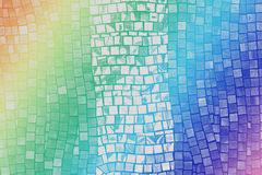 Rainbow mosaic tile wall Royalty Free Stock Images