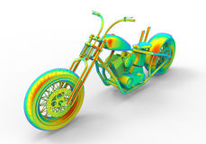 Rainbow motorcycle. 3D render illustration of a motorcycle colored with multiple rainbow colors. The composition is isolated on a white background with shadows Royalty Free Illustration