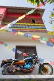 Rainbow motorcycle. In the hostel in Katmandu Royalty Free Stock Images