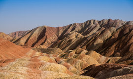 The rainbow mountain. Mean to Zhangye Danxia landform in China Royalty Free Stock Images
