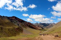 Rainbow mountain range. Hiking in Peru up to the Rainbow Mountains near Cusco Stock Photography