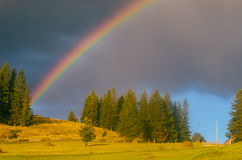Rainbow in the mountain valley after rain. Beautiful landscape in Carpathians. Ukraine Royalty Free Stock Image