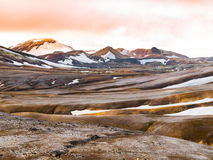 Rainbow mountains with fields of snow Royalty Free Stock Image