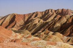 The rainbow mountains. Landformed in Zhangye, Danxia, Gansu, China Royalty Free Stock Images