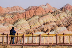 The rainbow mountains. Landformed in Zhangye, Danxia, Gansu, China Royalty Free Stock Photography