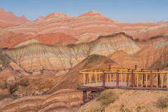 The rainbow mountains. Located on Zhangye, Danxia, Gansu Province, China Royalty Free Stock Photo