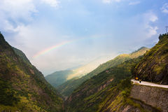 Rainbow in the mountains. Manali-Leh road in Indian Himalayas, Jammu and Kashmir State, North India Stock Image