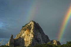 Rainbow mountains sky rock outdoor, sunlight, tree, thailand, natural, green, field, grass, countryside, heaven, over, blue, mount Royalty Free Stock Image