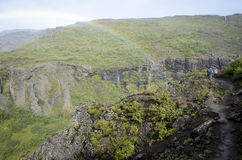 Rainbow in mountains royalty free stock photography