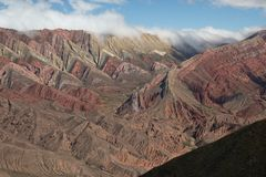 Rainbow mountains and valley in Humahuaca Argentina royalty free stock images