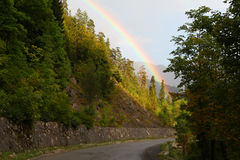 Rainbow in mountains Royalty Free Stock Images