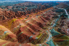 Rainbow mountains in Zhangye National Geopark stock photo