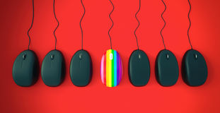Rainbow mouse stands out from other mouses Stock Photos