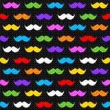 Rainbow Moustaches on Black Seamless Background. Rainbow colors hipster moustaches with a dark black background and polka dots. Seamless pattern background royalty free illustration