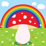 Rainbow and mushroom Stock Photography
