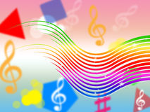 Rainbow Music Background Means Colorful Stripes And Sing. Rainbow Music Background Meaning Colorful Stripes And Sing Stock Photos