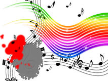 Rainbow Music Background Means Stripes And Playing Instruments Stock Photo