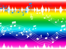 Rainbow Music Background Shows Musical Piece And Instruments Royalty Free Stock Photography