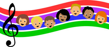 Rainbow Music Children/ai stock illustration