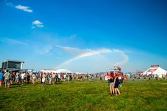 Rainbow in music festival Royalty Free Stock Photography