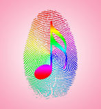 Rainbow Music Finger Print. On Pink Royalty Free Stock Photos