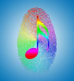 Rainbow Music Finger Print. 3D rendering Royalty Free Stock Photography