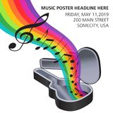 A rainbow of music flows from a guitar case Royalty Free Stock Image