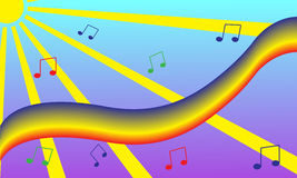 Rainbow music fun wallpaper Stock Photography