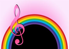 Rainbow with music note Stock Photography