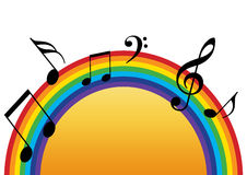 Rainbow music sun. Rainbow with sun and music notes in white background Royalty Free Stock Images