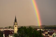 Rainbow in my town royalty free stock images