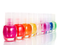 Rainbow of Nail Polish Stock Photos